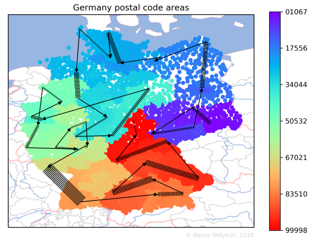 Germany postal code areas with arrows for long jumps