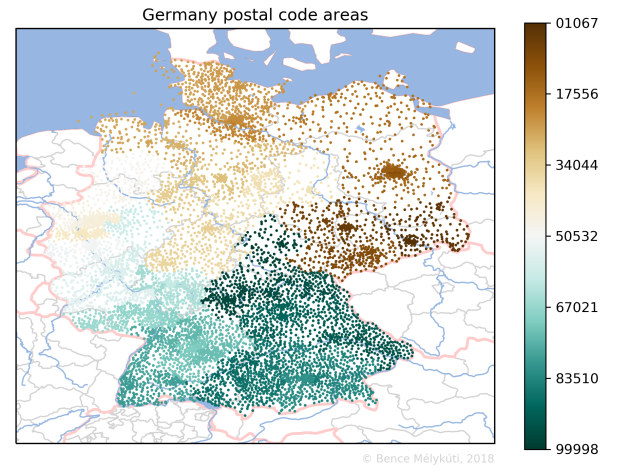 Germany postal code areas with small markers