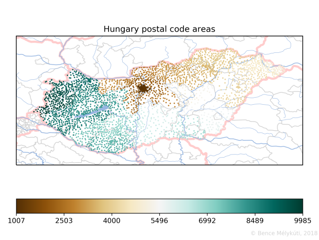 Hungary postal code areas with small markers
