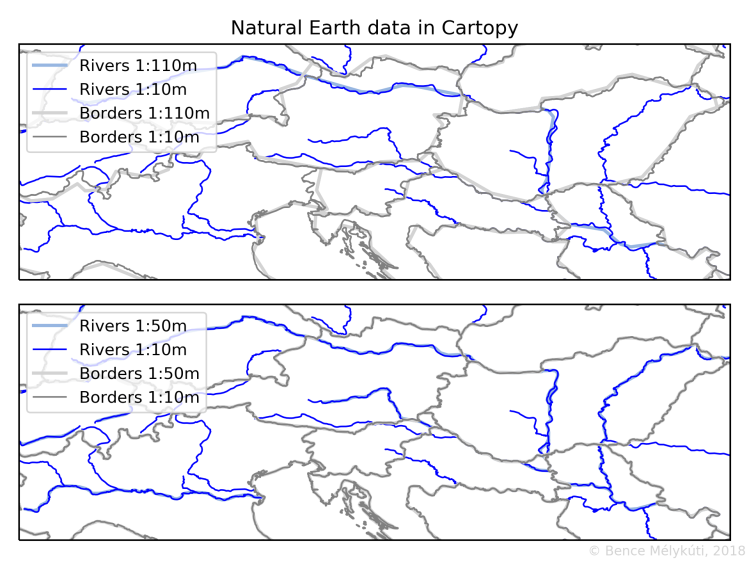 Natural Earth data at different scales plotted with Cartopy