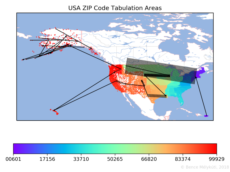 USA ZIP Code Tabulation Areas with arrows for long jumps